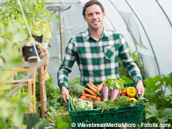Proud man presenting vegetables in a basket